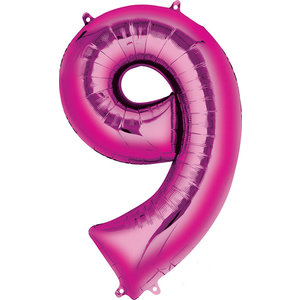 Balloons.com 34 Inch -  Number 9 - Pink Balloon (with helium)