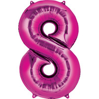 Balloons.com 34 Inch -  Number 8 - Pink Balloon (with helium)