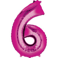 Balloons.com 34 Inch -  Number 6 - Pink Balloon (with helium)