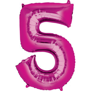 Balloons.com 34 Inch -  Number 5 - Pink Balloon (with helium) Qualatex 30571