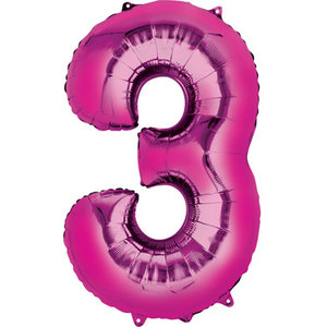 Balloons.com 34 Inch -  Number 3 - Pink Balloon (with helium)