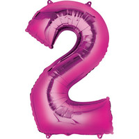 Balloons.com 34 Inch -  Foil Balloon - Number 2 - Pink (with 1.45 cf of helium) Qualatex Suprafoil 30559