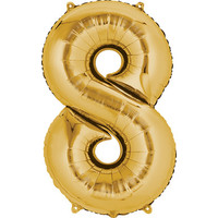 Balloons.com 34 Inch -  Number 8 - Gold Balloon (with helium)