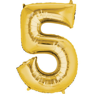 Balloons.com 34 Inch -  Number 5 - Gold Balloon (with helium)