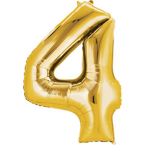 Balloons.com 34 Inch -  Number 4 - Gold Balloon (with helium)