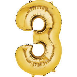 Balloons.com 34 Inch -  Number 3 - Gold Balloon (with helium)