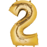 Balloons.com 34 Inch -  Foil Balloon - Number 2 - Gold (with 1.45 cf of helium) Qualatex Microfoil 30477