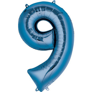 Balloons.com 34 Inch -  Number 9 - Blue Balloon (with helium)