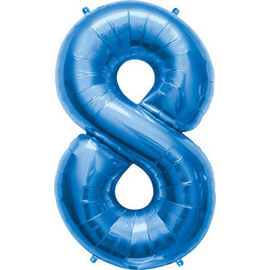 Balloons.com 34 Inch -  Number 8 - Blue Balloon (with helium)