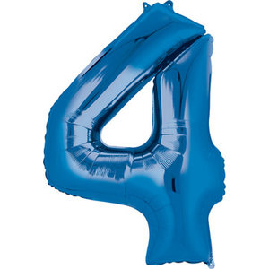 Balloons.com 34 Inch - Number 4 - Blue Balloon (with helium)