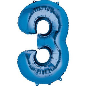 Balloons.com 34 Inch -  Number 3 - Blue Balloon (with helium)