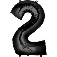 Balloons.com 34 Inch -  Number 2 - Black Balloon (with helium)