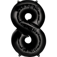 Balloons.com 34 Inch -  Number 8 - Black Balloon (with helium)