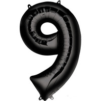 Balloons.com 34 Inch -  Foil Balloon - Number 9 - Black (with 1.42 cf of helium) Qualatex 36365