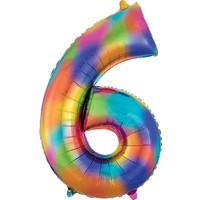 Balloons.com 34 Inch -  Number 6 - Rainbow Splash Balloon (with helium)
