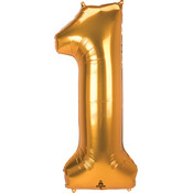 Balloons.com 52 Inch - Number 1 - Gold Balloon (with helium)