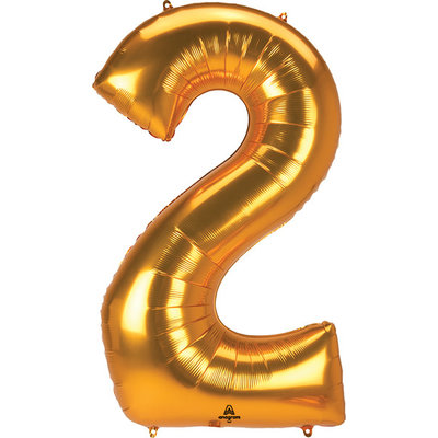 Balloons.com 52 Inch - Number 2 - Gold Balloon (with helium)