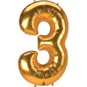 Balloons.com 52 Inch - Number 3 - Gold Balloon (with helium)