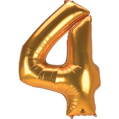 Balloons.com 52 Inch - Number 4 - Gold Balloon (with helium)