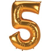 Balloons.com 52 Inch - Number 5 - Gold Balloon (with helium)