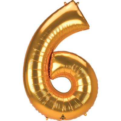 Balloons.com 52 Inch - Number 6 - Gold Balloon (with helium)
