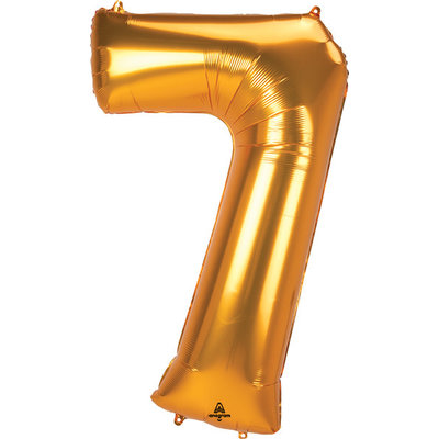 Balloons.com 52 Inch - Number 7 - Gold Balloon (with helium)