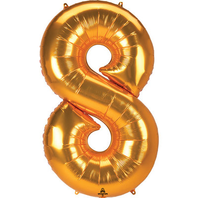 Balloons.com 52 Inch - Number 8 - Gold Balloon (with helium)