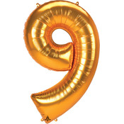 Balloons.com 52 Inch - Number 9 - Gold Balloon (with helium)