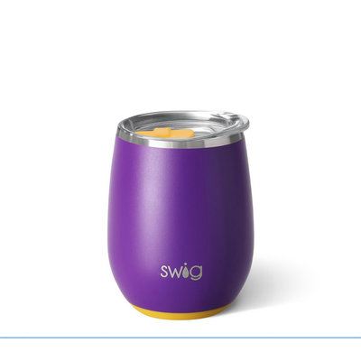 Swig 14 oz - Stemless Wine Cup - Matte Purple/Yellow