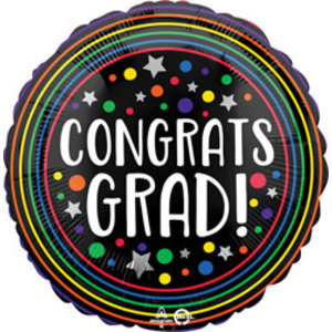 Balloons.com 28 inch - Foil Balloon - Colorful Circles Graduation (with helium)