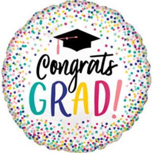 Balloons.com 28 inch - Foil Balloon - White with Confetti Graduation (with helium)