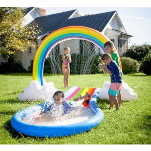 HearthSong Inflatable Rainbow Water Slide