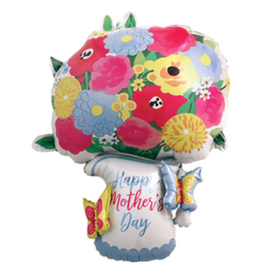 Balloons.com 34 inch - Mother's Day Balloon - Shaped like a Flower Pot (with helium) (Item No. 3919601)
