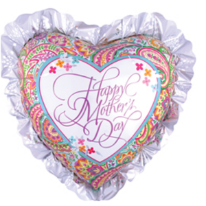 Balloons.com 28 inch - Foil Balloon - Mother's Day Balloon - Heart Shaped Ruffle (with helium) (Item No. 30497)