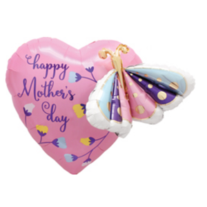 """Balloons.com 24"""" - Foil Balloon - Mother's Day- Multiballoon Butterfly & Heart (with helium) (Item No. 3922701)"""