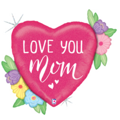Balloons.com 35 inch - Mother's Day - Love You Mom Flowers Balloon (with helium) (Item No. 35940)
