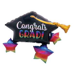 Balloons.com 34 Inch - Graduation ballon - Grad Cap and Stars (with helium)