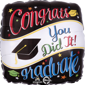 "Balloons.com 26"" - Foil Balloon - Graduation - Congrats You Did It (with helium)"