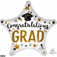Balloons.com 28 Inch - Foil Balloon - Graduation - Star Shaped White and Gold (with helium)