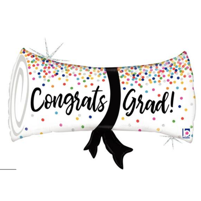 Balloons.com 31 inch - Foil Balloon - Holographic Congrats Grad Confetti Diploma (with helium) (Item No. 35773)