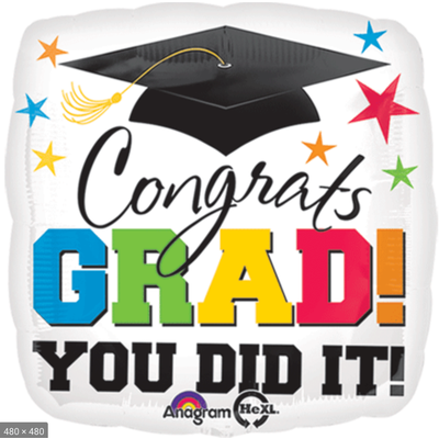 Balloons.com 28 inch - Foil Balloon - Congrats Grad! You Did It! (with helium) (Item No. 30358)