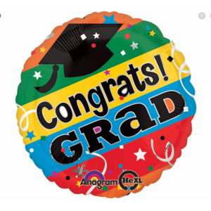 Balloons.com 28 Inch - Foil Balloon - Congrats Grad Multicolor (with helium) (Item No. 28194)
