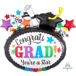 Balloons.com 29 Inch - Foil Balloon - Congrats Grad! You're a Star (with helium) (Item No. 37197)