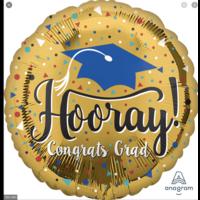 Balloons.com 28 Inch - Foil Balloon - Hooray Congrats Grad Gold (with helium) (Item No. 37320)