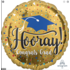 Balloons.com 28 Inch - Foil Balloon - Hooray Congrats Grad Gold (with helium) (Item No. 37320)
