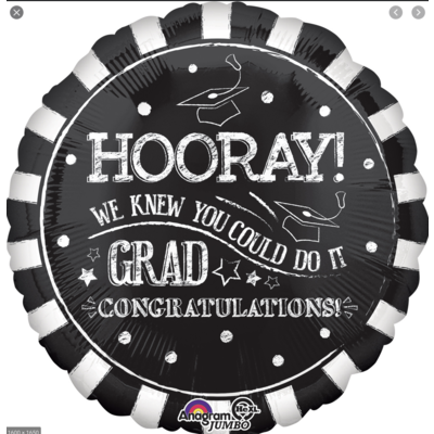 Balloons.com 28 Inch - Foil Balloon - Hooray! We Knew You Could Do It Grad! (with helium) (Item No. 35348)