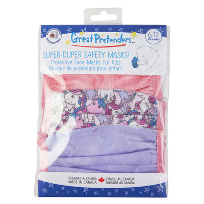 Creative Education (Ages 6-12) 3-Pack of Kids Face Mask - Unicorn/Pink/Purple