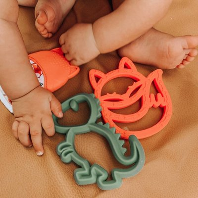 Itsy Ritzy Chew Crew Silicone Baby Teethers - Fox