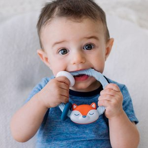 Itsy Ritzy Ritzy Rattles Silicone Teethers - Fox Blue