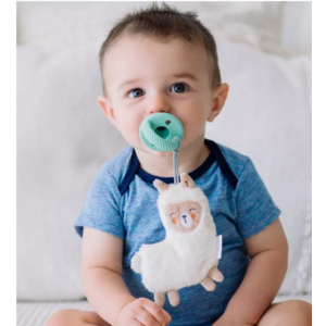 Itsy Ritzy Sweetie Pal Pacifier & Flat Lovey - Llama + Mint Cable
